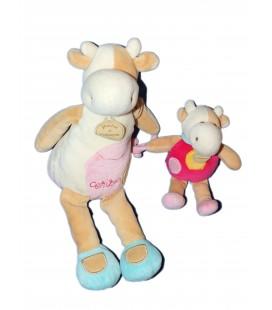 DOUDOU ET COMPAGNIE - Vache rose beige blanche - Cerise - Et son bébé H 30 cm - 7689
