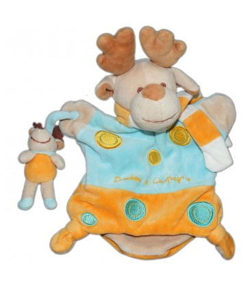 DOUDOU ET COMPAGNIE - Marionnette Renne elan cerf orange bleu - Ronds