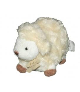 HISTOIRE D'OURS - Doudou Peluche Mouton agneau blanc crème écru marron - 12 x 16 cm