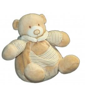 Doudou Peluche OURS boule beige rayures - Playkids CMI - H 20 cm