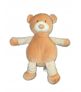 Doudou Peluche OURS beige rayures - Playkids CMI - H 26 cm