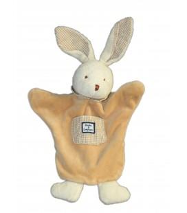 DOUDOU ET COMPAGNIE - Marionnette LAPIN beige poche carreaux blancs vichy