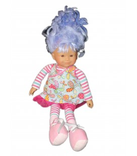 Poupée COROLLE et sa robe - 40 cm - Tissu Chiffon 2008 - Cheveux mauves violine - 7715
