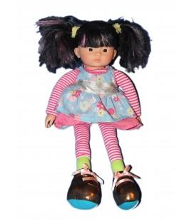 Poupée COROLLE et sa robe - 40 cm - Tissu Chiffon 2007 - Cheveux Noirs mèches rose violine