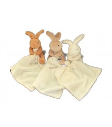 BABY NAT - Lot de 3 doudous lapins blanc écru beige marron avec mouchoir - H 15 cm