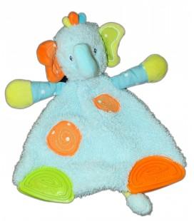 Doudou plat ELEPHANT bleu orange vert BABYSUN Baby Sun - Anneau dentition