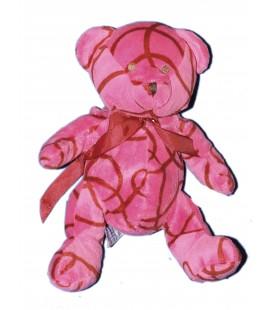 NOCIBE Peluche doudou OURS rose rouge Noeud satiné 2004 H 25 cm