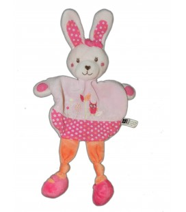 Doudou plat LAPIN rose orange Noeuds Hibou - TEX Baby - Carrefour