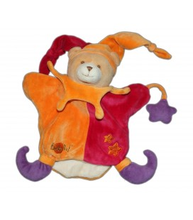 BABY NAT - Marionnette OURS Lutin arlequin Orange rouge violet Etoile