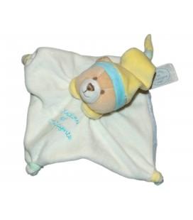DOUDOU ET COMPAGNIE Mini doudou Ours Acidule plat blanc bleu bonnet jaune 16 cm