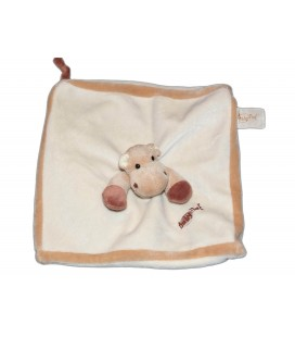 BABY NAT - Doudou plat carre Hippopotame beige blanc marron