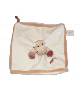 BABY NAT - Doudou plat carré Hippopotame beige blanc