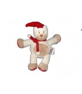 Doudou OURS blanc beige Echarpe Bonnet Tricot rouge - BENGY Amtoys - 2006