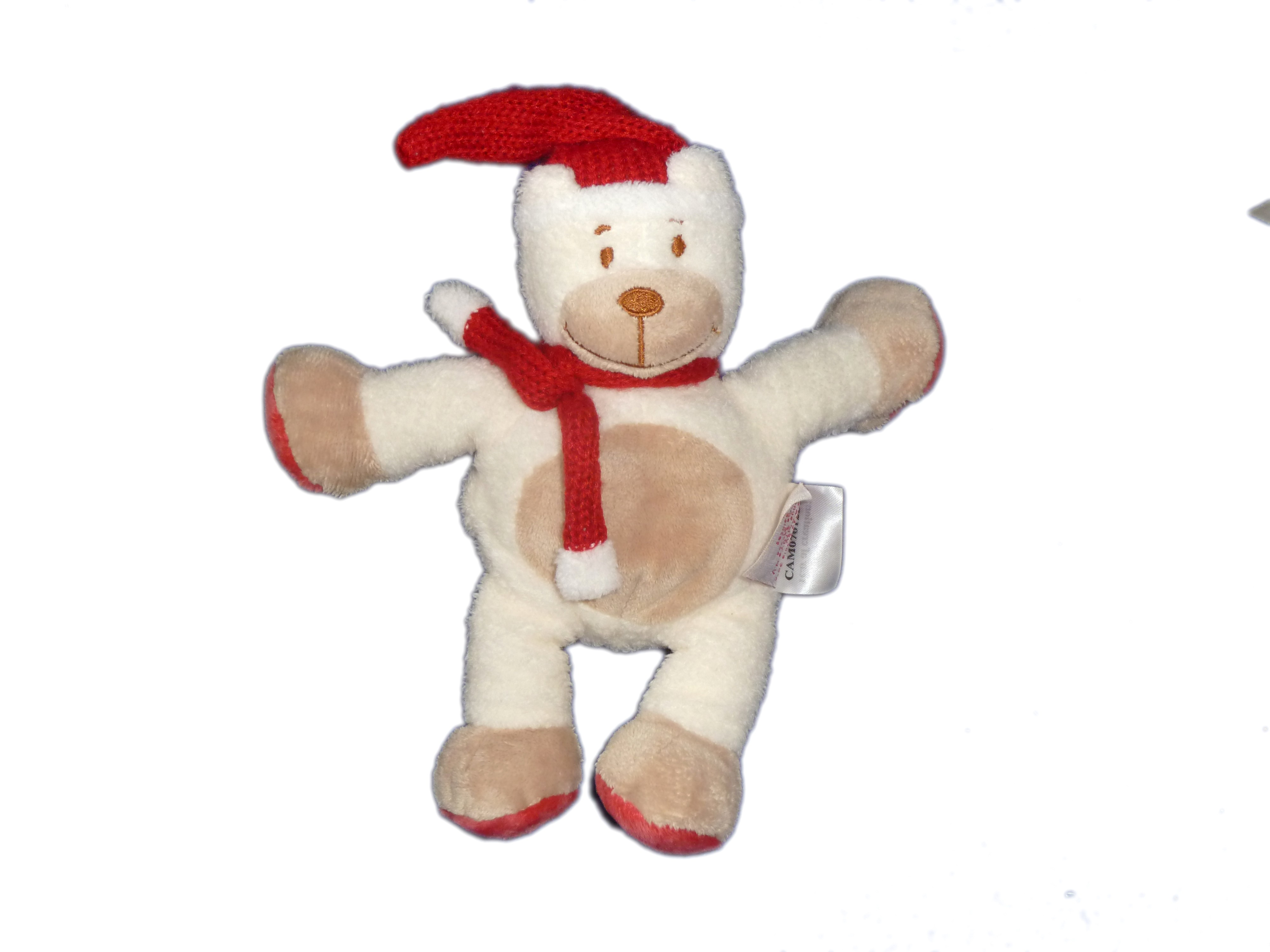 ada57cf30ae trendy doudou ours blanc beige echarpe bonnet tricot rouge bengy amtoys  with bonnet ours tricot