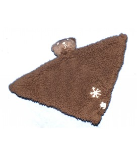Carrefour - Doudou plat Ours marron Polaire Triangle