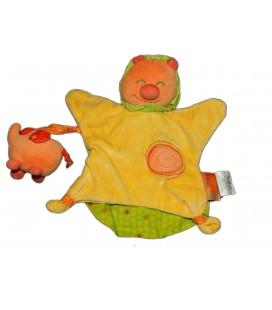 Doudou marionnette LION orange jaune PREMAMAN