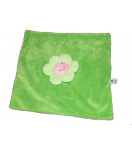 Doudou plat Fleur CANDIDE Plastitemple rose vert carré