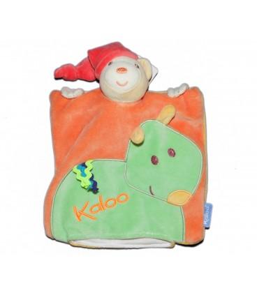 KALOO - Doudou Marionnette plat OURS Pop Orange Vert