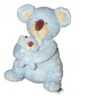 Doudou Peluche Koala Panda bleu clair ciel et son bébé KIMBALOO La Halle ! H 28 cm