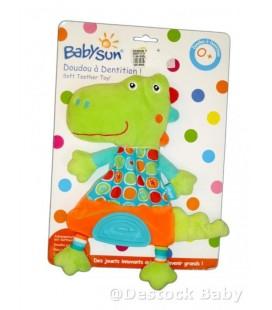 Doudou Crocodile Vert orange fluo bleu BaBYSUN Motifs