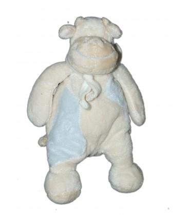 Doudou Peluche Pantin VACHE bleue et blanche H 22 cm Foulard