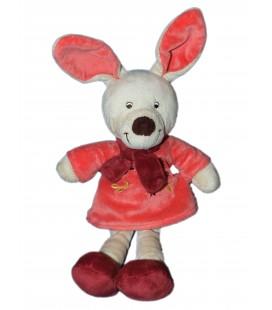 Doudou LAPIN rose beige bordeau robe et écharpe Vétir 32 cm