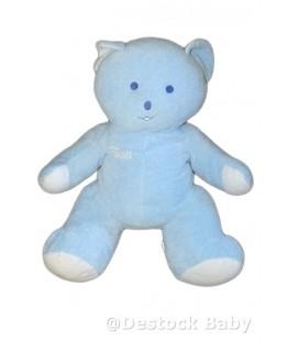 Grand doudou peluche ours bleu clair Musti de Mustela - 50 cm