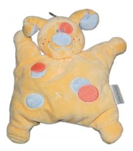 Doudou Nattou Semi plat Coussin CHIEN jaune orange Grelot