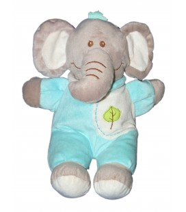 Doudou Peluche ELEPHANT bleu turquoise feuille verte Grelot 30 cm