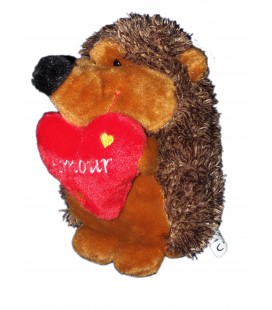 Peluche HERISSON marron Coeur Amour BEST PRICE London 22 cm