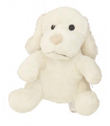 Doudou Peluche CHIEN blanc crème nez beige BEBISOL - H 18 cm