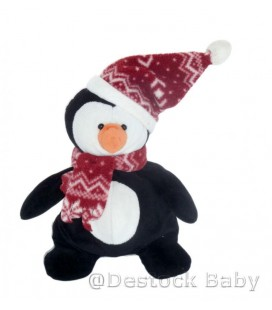 Doudou peluche PINGOUIN noir blanc NICOTOY Bonnet Echarpe Bec orange 25cm