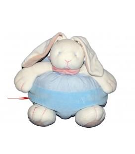Doudou Peluche Lapin Boule bleu blanc Foulard rose - NATURE ET DECOUVERTES 24 cm