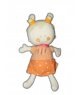 Doudou Peluche - NE FONCTIONNE PLUS - POUPEE FILLE - Orange- BABYSUN - H cm