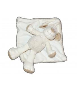 Doudou Mouton blanc gris couverture scratch Nicotoy Simba 25 cm