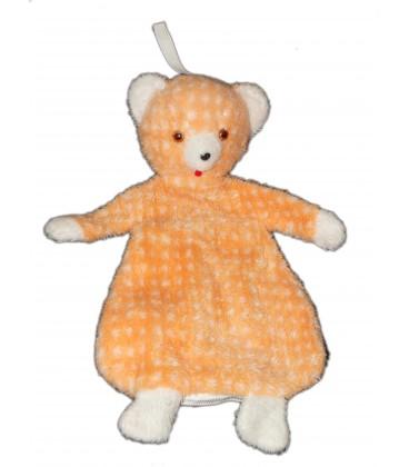 VINTAGE - Doudou Ancienne peluche Range Pyjama OURS orange saumon blanc H 55 cm