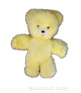 Doudou peluche OURS jaune BOULGOM - Grelot Yeux noirs - 22 cm