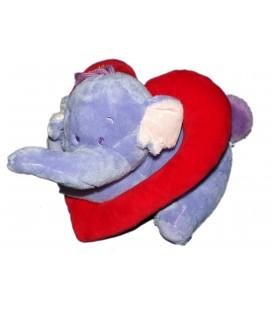 Doudou peluche LUMPY Coeur I Love You Elephant mauve Disney Nicotoy L 28 cm