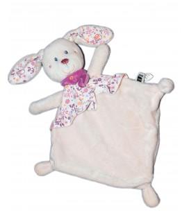 Doudou plat LAPIN rose mauve Fleurs - TEX Baby - Carrefour