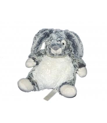 Doudou peluche LAPIN gris blanc chiné fourrure Simba Toys 584/4394