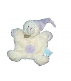 Doudou Plat OURS blanc Croix Bonnet mauve parme Câlin - BABY NAT Babynat - BN742