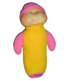 Doudou peluche CHENILLE jaune rose - Phosphorescente - TOTO - 32 cm - AJENA