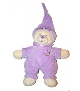 Doudou peluche ours mauve violet Gipsy 28 cm Baby Bear Lune brodée