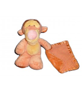 Doudou peluche TIGROU Mouchoir carreaux vichy orange Floppy - H 22/28 cm - Disney Nicotoy 587/9935