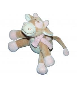 Doudou peluche musicale VACHE beige rose blanc Lola NOUKIES Noukie's - H 20 cm