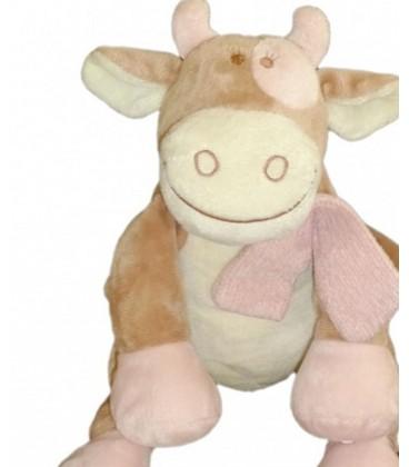 Doudou peluche Vache Lola rose beige NOUKIE'S Noukies H 26 cm assis