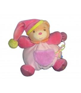 KALOO - Doudou OURS boule rose Pop Miroir 18 cm