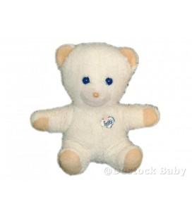 Doudou peluche OURS blanc Yeux bleus BOULGOM Baby 25 cm