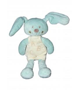 POMMETTE - Doudou Lapin bleu Salopette blanche ABC - H 26 cm