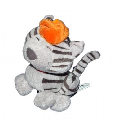 Peluche doudou Chat gris beret orange Carré Blanc 18 cm